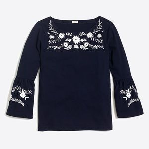 NWOT J.Crew Factory Embroidered Bell-Sleeve Tee